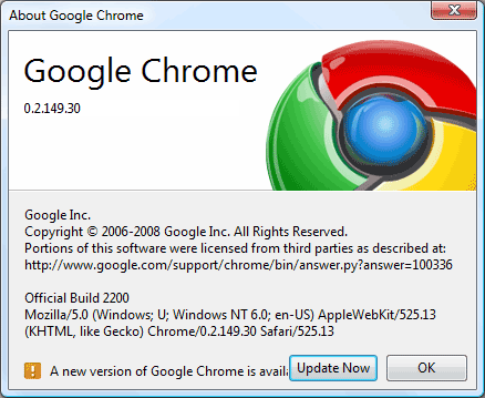 new version of google chrome is available