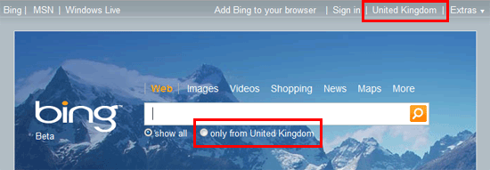 bing showing united kingdom as the selected country