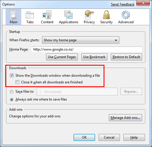 changing the firefox downloads settings