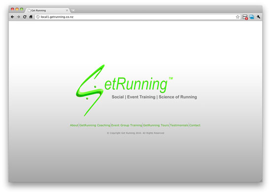 original getrunning website homepage