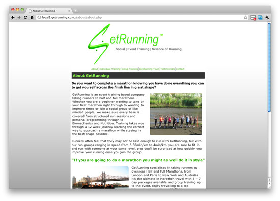 original getrunning website about us page