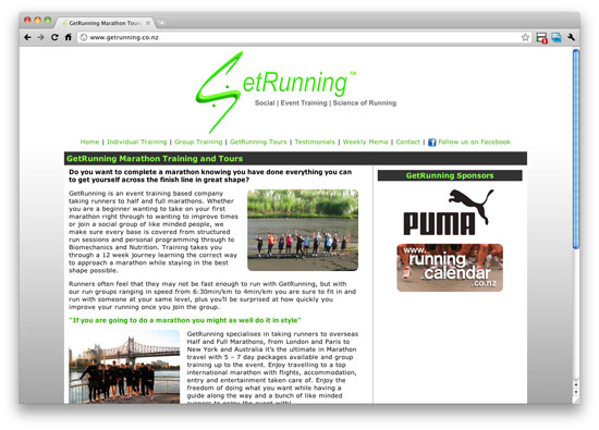 new getrunning website homepage using silverstripe cms