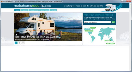 motor home road trip website homepage