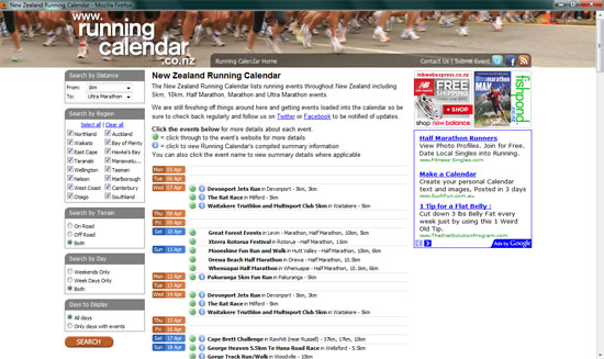 new zealand running calendar homepage