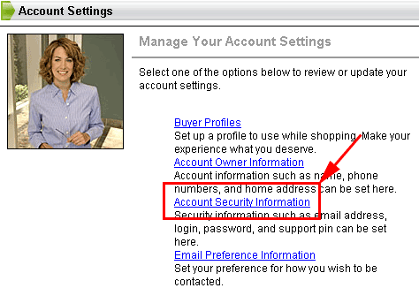 select account security information