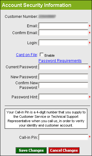 enter account security information including login name and password