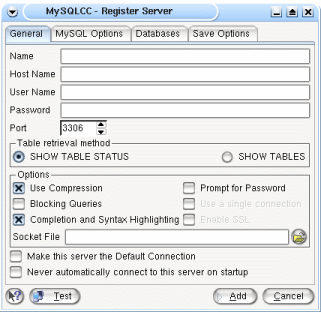 Default server registration for MySQL Control Center