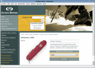 Outdoor Action Product Page