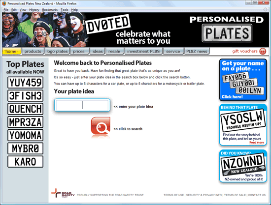 personalised plates old homepage