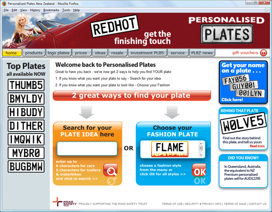 new personalised plates homepage