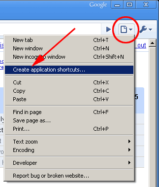 creating an application shortcut with google chrome