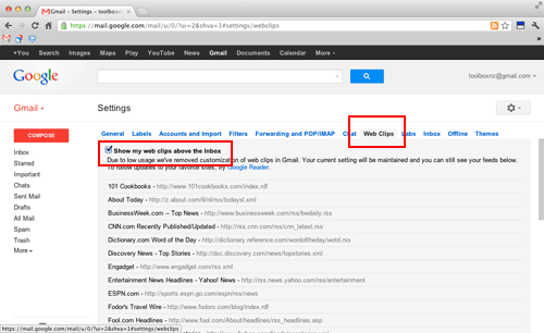 ads above the message list in gmail