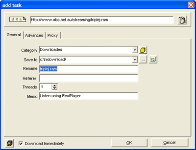 Dialog window to save audio stream as a file