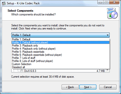 installing the k-lite codec pack, without player