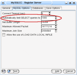 Change the default MySQL Control Center number of rows returned in a select query