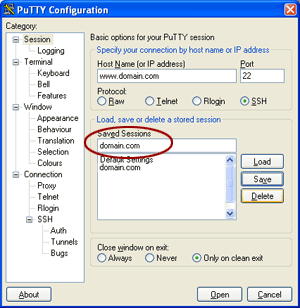 Saving PuTTY configure options