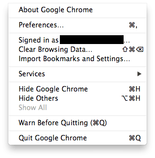 default menus on google chrome