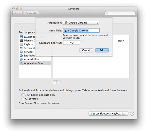 Remap quit and close tab shortcut keys etc in Mac OS X