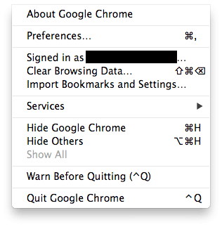 modified menus on google chrome