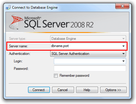 Connect to a different port with SQL Server Management